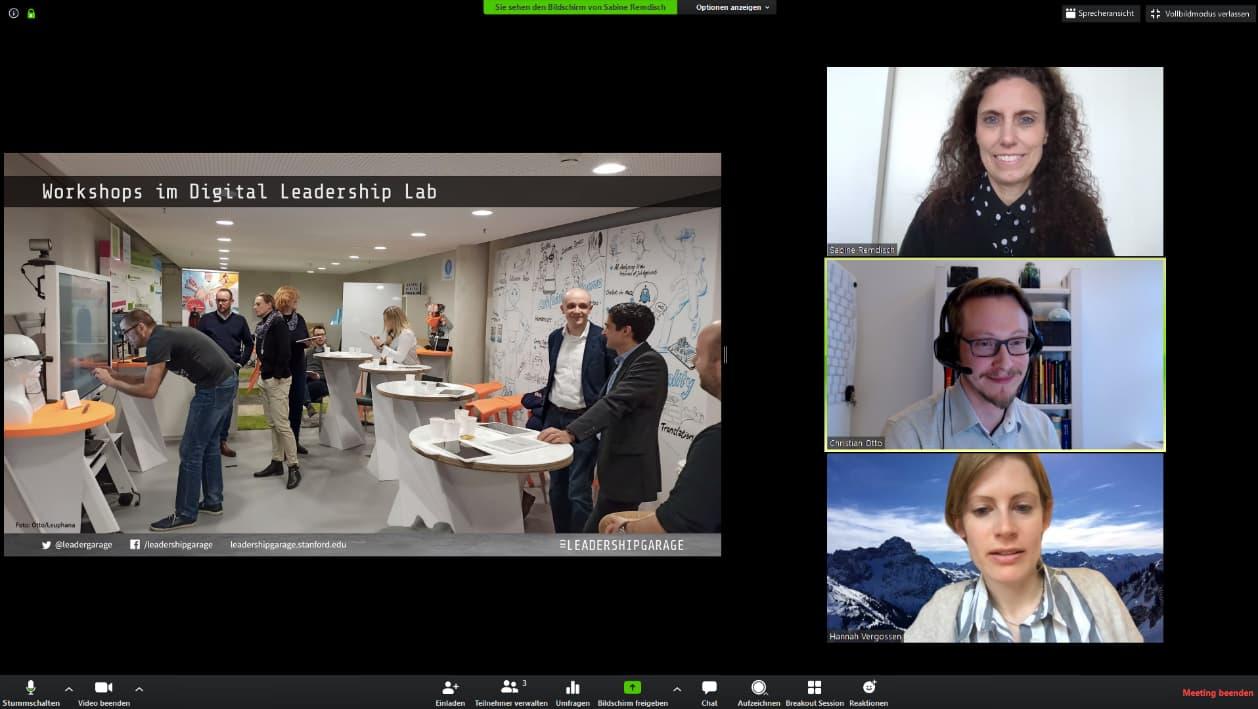 Willkommen im virtuellen Raum: Auch die LeadershipGarage zeigt soziale Verantwortung und setzt ihren als Präsenzveranstaltung geplanten Theme Day kurzerhand als Online-Meeting um.